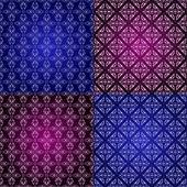 Set filigree damask seamless patterns — Foto de Stock