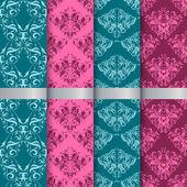 Set filigree damask seamless patterns — Stock Photo