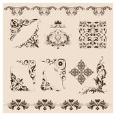 Set of vector damask ornaments — Stock Photo