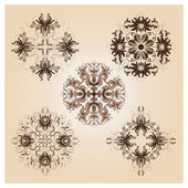 Set of vintage damask ornaments — Stock Photo