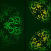 Vintage floral pattern on a dark green background. — Cтоковый вектор