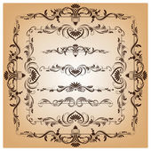 Set of vector borders and frames for design — 图库矢量图片