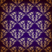 Vector damask seamless on violet background — Stock Vector