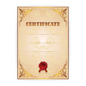 Vector gold certificate with a laurel wreath — Stockvector