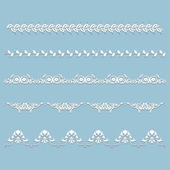 Set of white lace border with shadow — Stockvektor