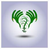 Green ecology light bulb icon in hands — Stock Vector