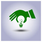 Green ecology light bulb icon in hand — ストックベクタ