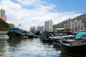 Hong Kong, traditional junks in the Aberdeen — Stock Photo