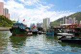 Hong kong, tradizionali giunche nell'aberdeen — Foto Stock