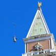 Flight of the dove from the bell tower of St. Mark's Square in V — Stock Photo