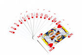 Royal flush in Hearts — Stock Photo