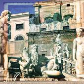 Palermo, Piazza Pretoria — Stock fotografie
