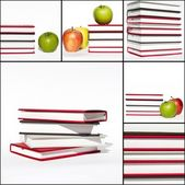 Books and apple isolated on white background — Stock Photo