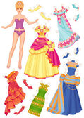 Doll with dresses for cut-outs — Stock Photo
