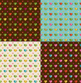 Set of patterns with hearts — Stock Vector