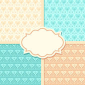 Wedding vector seamless patterns and frame — Stockvektor