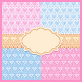 Pink and blue vector seamless patterns with hearts and frame — Stock Vector
