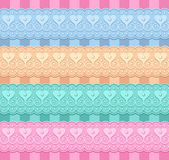 Vector set of ribbons with hearts — Vector de stock