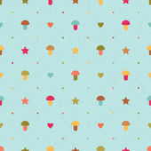 Vector seamless pattern with mushrooms, stars and hearts — Stock Vector