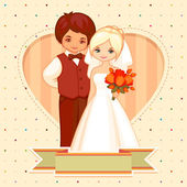 Vector cartoon illustration of the groom and bride — Stock Vector