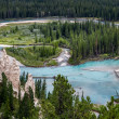 Bow River and Hoodoos near Banff CanadiRockies AlbertCanada — Stock Photo #37789969
