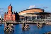 Pierhead and Millenium Centre buildings Cardiff Bay — Stock Photo