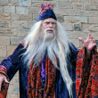 Stock Photo: Dumbledore entertaining crowds at Alnwick Castle
