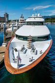 Expensive motor cruiser in Vancouver Harbour — Stock Photo