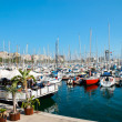 Barcelona marina and floating restaurant — Stock Photo