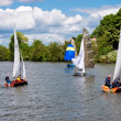 Sailing on River Thames near Kingston-upon-Thames Surrey — Stock Photo #38267863