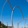 Stock Photo: Massive metal sculpture port entrance Barcelona