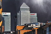 Canary Wharf and other buildings in Docklands — Stock Photo