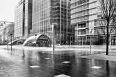 Torrential rain pounding Canary Wharf tube station — Stock Photo