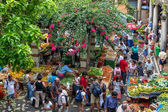 Bustling Funchal market in Madeira — Stock Photo
