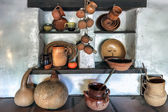 Pots on display in the oldest building in Los Angeles — Stock Photo