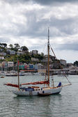 Yacht moored off Dartmouth — Stock Photo