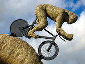 Olympic cyclist straw sculpture — Stock Photo
