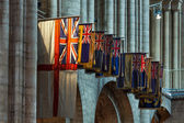 Flags hanging in Ely Cathedral — Stock Photo