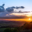 Stock Photo: Sunset Val d'OrciTuscany