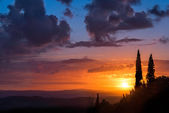 Sunset Val d'Orcia Tuscany — Stock Photo