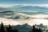 "Sunrise over Val d""Orcia — Foto Stock"