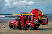 RNLI Lifeguards on duty at Bude — Stock Photo