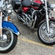 Close-up of two motorcycles parked in Whitstable — Stock Photo #39350943