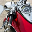 Close-up of a motorcycle parked in whitstable — Stock Photo #39350961