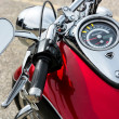 Close-up of a motorcycle parked in whitstable — Stock Photo