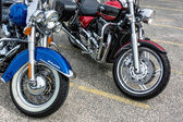 Close-up of two motorcycles parked in Whitstable — Stockfoto