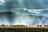 Snow storm over the Grand Tetons — Stock Photo
