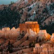 Stock Photo: First rays of sun striking Bryce Canyon