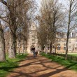 A view down a tree lined avenue to one of Oxford's university co — Stock Photo