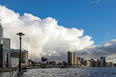 Winter storm approaching Docklands London — Stock Photo
